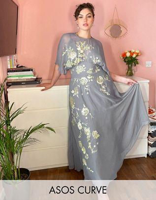 Vestido bordado de flores Asos