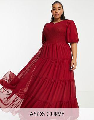 Vestido ASOS CURVE color guinda
