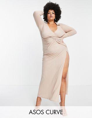 Vestido ASOS CURVE DESIGN color piedra con abertura en pierna