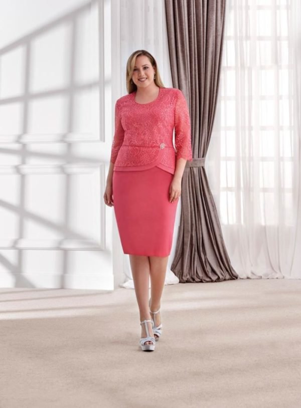 Vestido de fiesta coral para gorditas