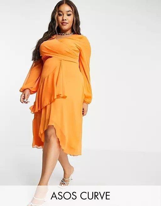 Vestido gorditas otoño invierno vestido de noche Vestido midi naranja de manga larga