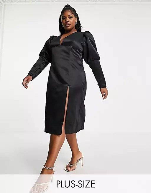 Vestido gorditas otoño invierno vestido de noche Vestido midi negro con escote pronunciado