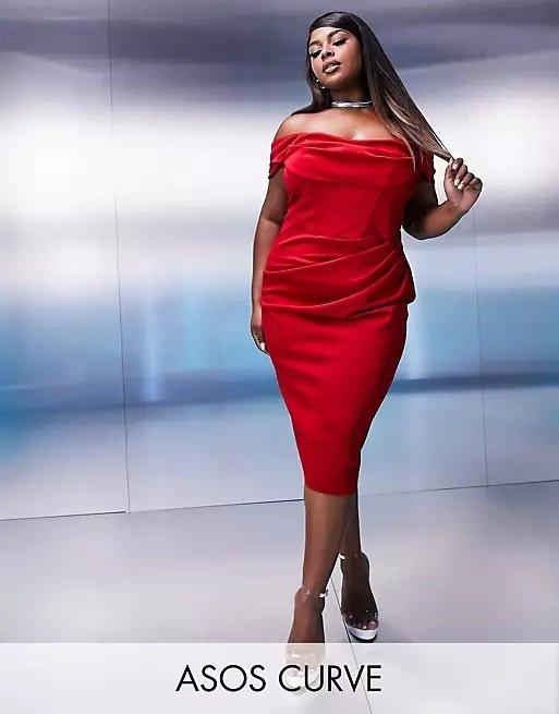 Vestido gorditas otoño invierno vestido de noche Vestido midi rojo drapeado de tubo con corsé de escote