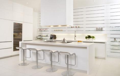 cocinas blancas modernas u con pequeos toques metalizados para destacar