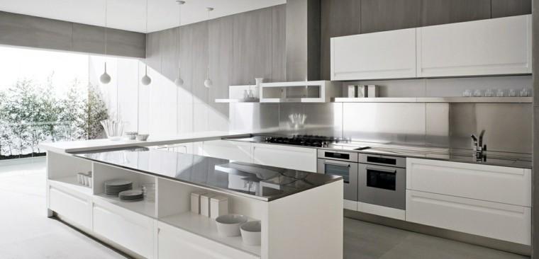 De 30 fotos de decoraci n de cocinas blancas modernas - Cocinas con suelo gris ...