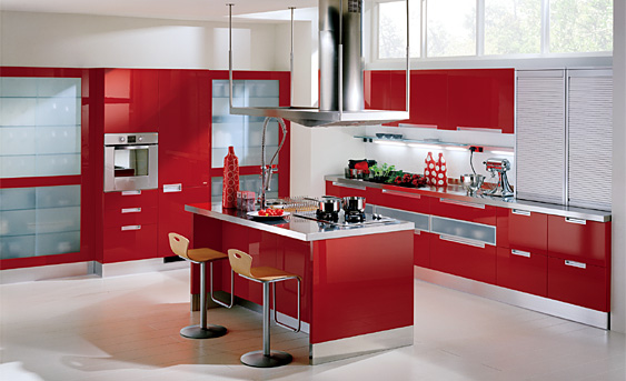 cocinas-blancas-y-rojas-al-completo