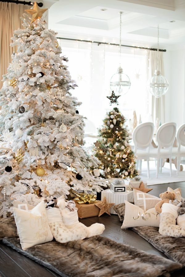 arboles de navidad blanco y dorado - Arboles De Navidad Blancos