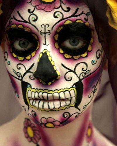 maquillaje,catrina,halloween,rosa,amarillo