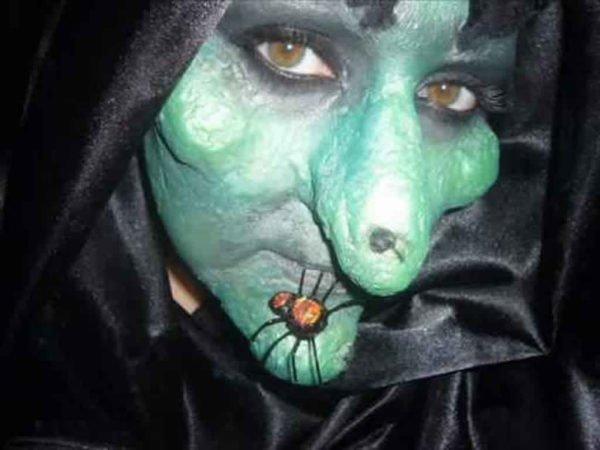 maquillaje,halloween,bruja,arana,verruga