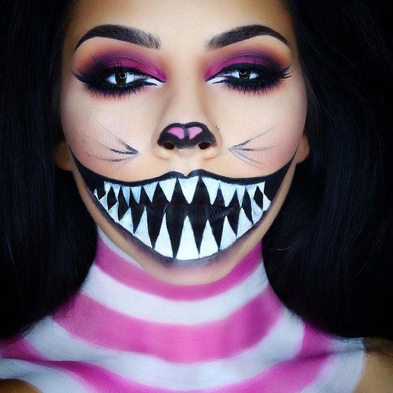 maquillaje halloween gato rosa rayas - Maquillaje Halloween