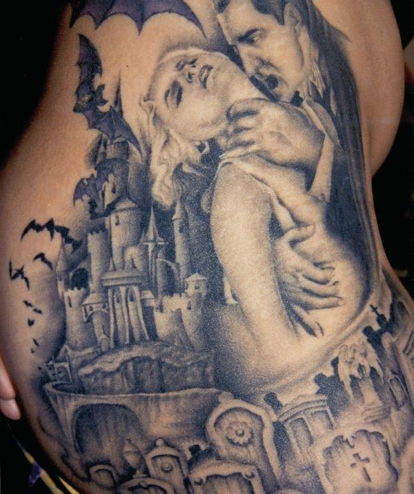 tatuajes-de-halloween-2016-vampiro-con-castillo