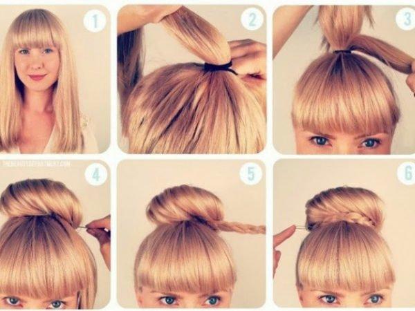 20-peinados-fáciles-y-rápidos-moño-alto-con-flequillo