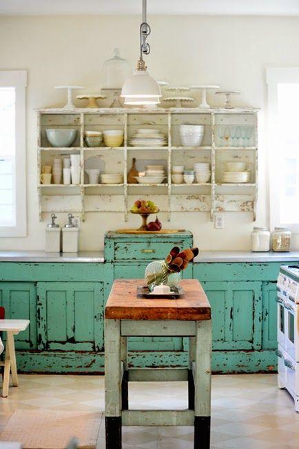 Cocinas vintage de 34 ideas para decorar tu cocina al for Muebles de comedor vintage