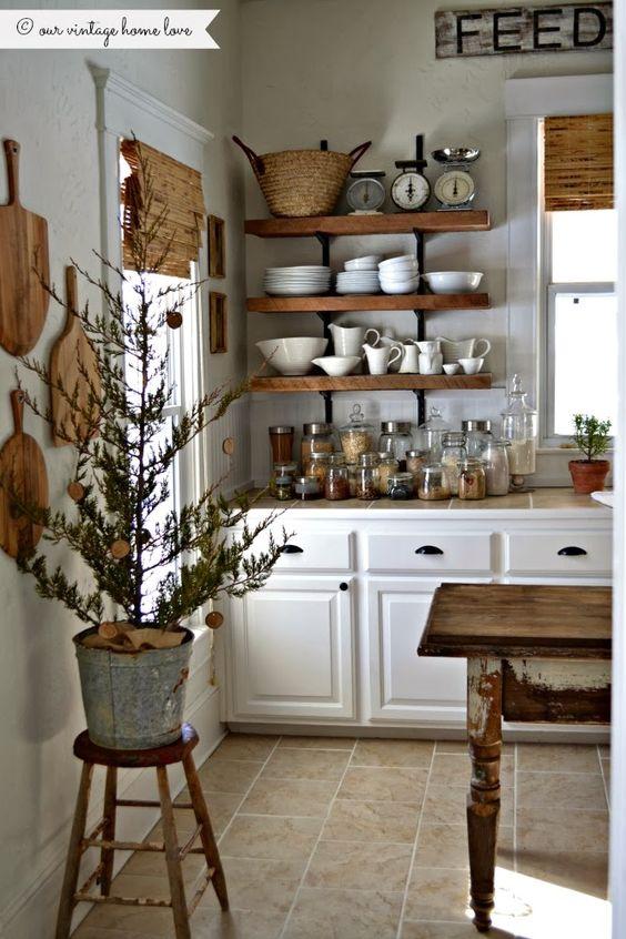 Cocinas vintage de 34 ideas para decorar tu cocina al for Repisas rusticas para cocina