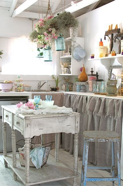 Cocinas vintage de 34 ideas para decorar tu cocina al for Cortinas para muebles de cocina