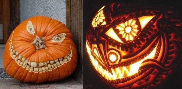 De 100 fotos con ideas de decoraci n halloween 2018 - Calabazas de halloween de miedo ...
