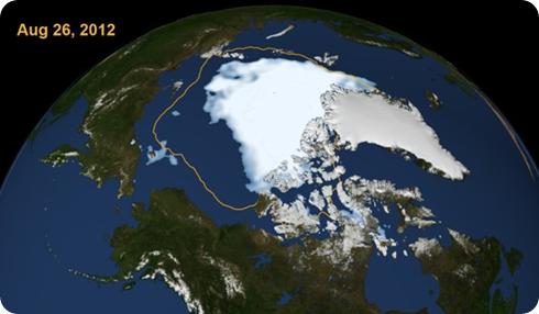 Hielo ártico 2012, Línea naranja año 2000