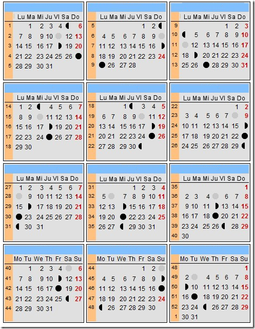 Calendario lunar 2013 for Fases lunares del 2016