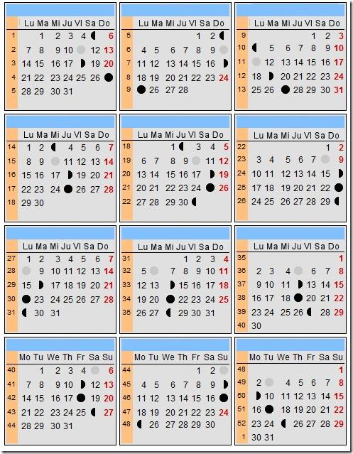 Calendario lunar 2013 - Tendenzias.com