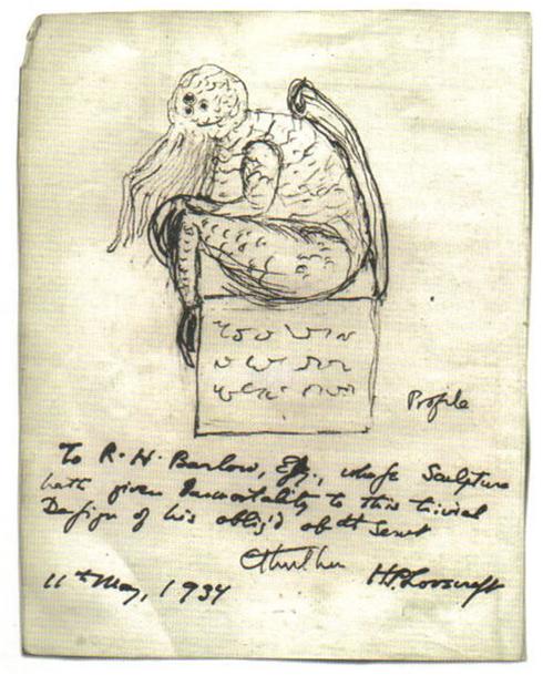 Cthulhu, dibujado por Lovecraft