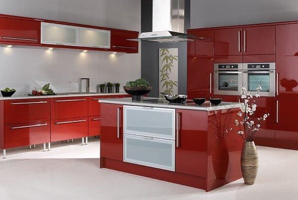 De 300 fotos cocinas modernas 2016 ideas para decorar - Cocinas de color rojo ...