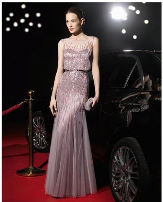 Vestidos de noche rosa clara