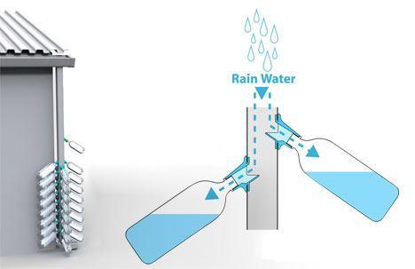 botellas agua lluvia