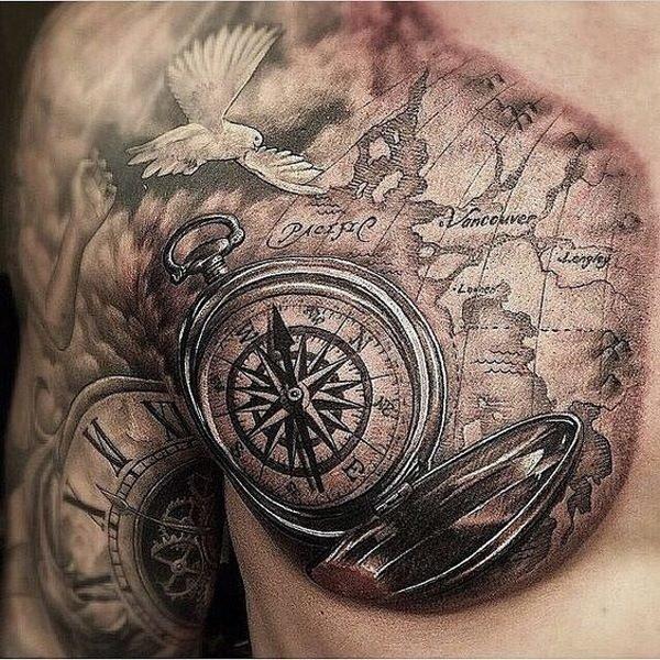 tatuajes-brujulas-pecho-y-brazo
