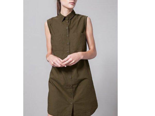 catálogo-stradivarius-vestidos-verde-oliva-camisero