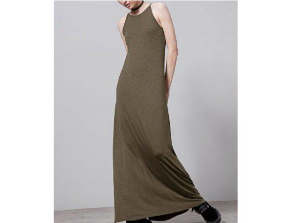 catálogo-stradivarius-vestidos-verde-oliva-largo