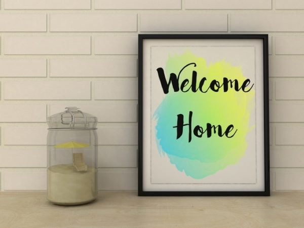 Decorar con cuadros modernos cuadro con frase welcome home