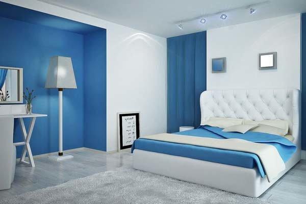 Los colores para casas con estilo en 2017 - Dormitorio azul y blanco ...
