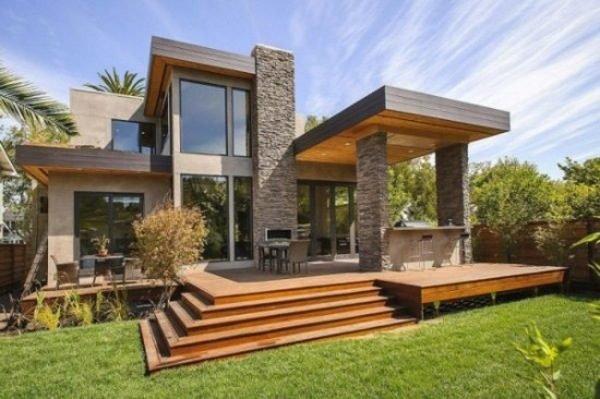 fachadas-de-las-casas-más-bonitas-y-modernas-casa-desniveles-madera