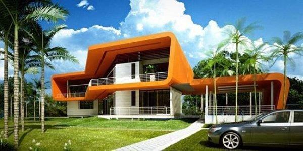 fachadas-de-las-casas-más-bonitas-y-modernas-casa-rectangular-naranja