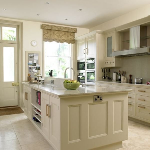beige kitchen with grey blind | kitchens | kitchen ideas | image
