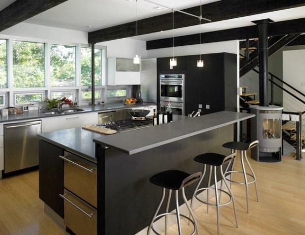 ideas-combinar-los-colores-la-cocina-cocina-negra-y-metalizada