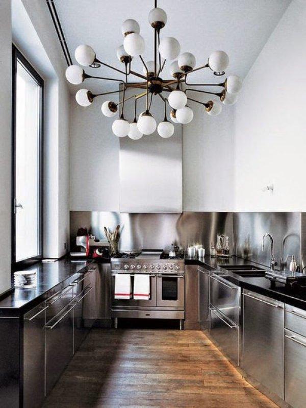 mas-50-fotos-cocinas-pequenas-modernas-2016-cocina-acero-inoxidable