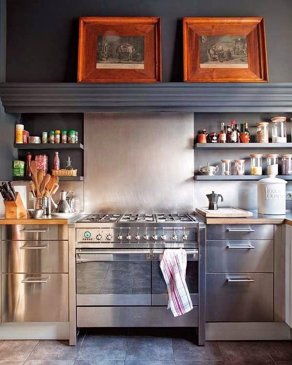 mas-50-fotos-cocinas-pequenas-modernas-2016-cocina-acero-inoxidable-con-pared-azul