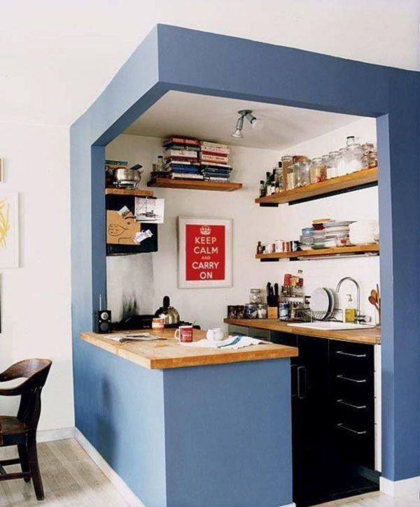 mas-50-fotos-cocinas-pequenas-modernas-2016-cocina-con-marco-en-azul