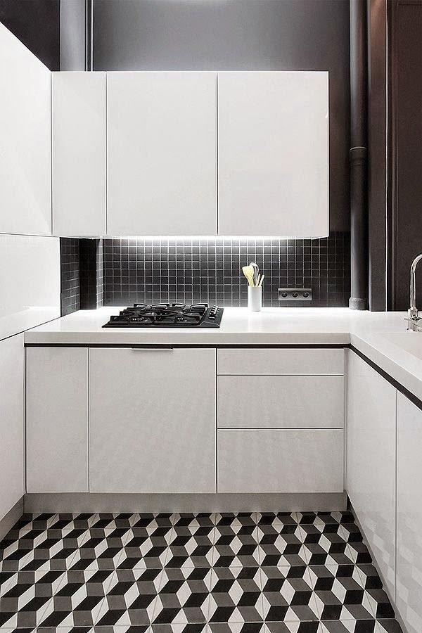 mas-50-fotos-cocinas-pequenas-modernas-2016-cocina-contraste-de-blanco-y-negro-en-el-suelo