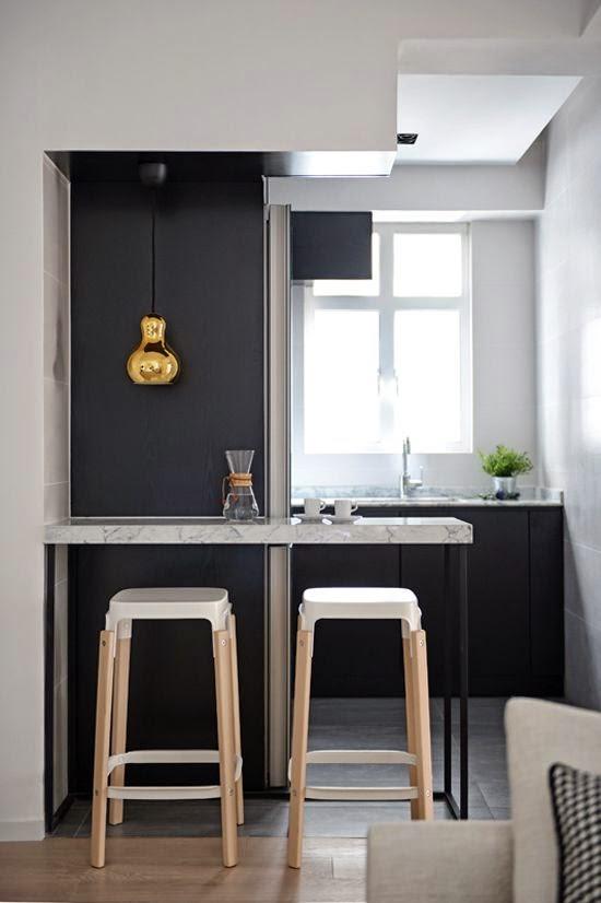 mas-50-fotos-cocinas-pequenas-modernas-2016-cocina-contraste-de-blanco-y-negro