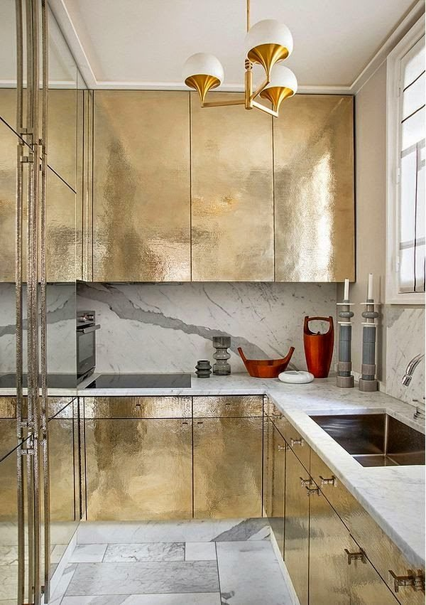 mas-50-fotos-cocinas-pequenas-modernas-2016-cocina-dorada-lujosa