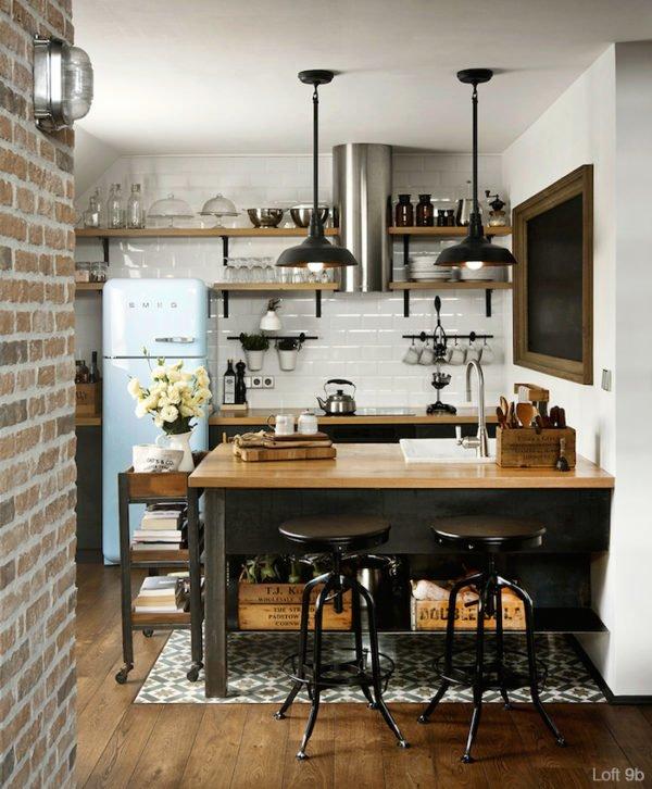 mas-50-fotos-cocinas-pequenas-modernas-2016-cocina-moderna-de-estilo-retro
