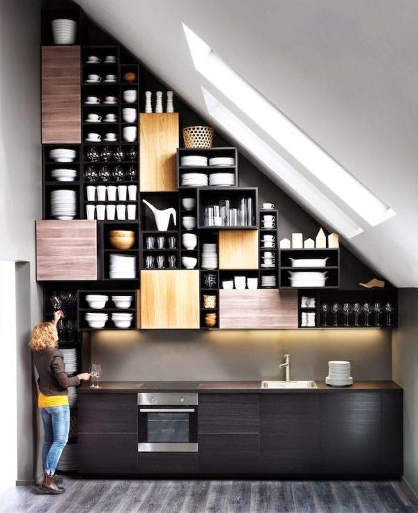 mas-50-fotos-cocinas-pequenas-modernas-2016-cocina-muebles-y-estantes-y-luz-natural
