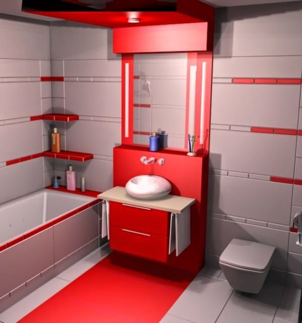 Colores para cuartos de ba o peque os 2017 - Muebles de bano rojos ...