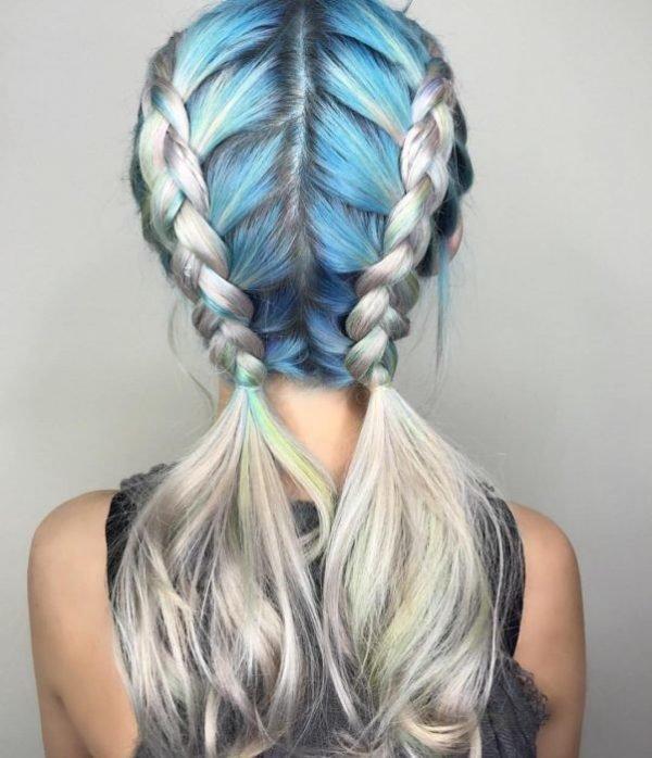 peinados con trenzas doble azul - Peinados Con Trenzas