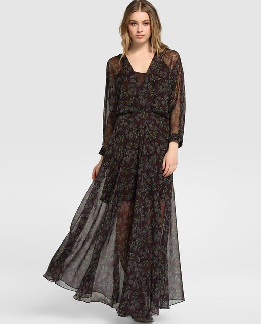 vestidos-de-fiesta-largos-otoño-invierno-2017-marron-estampado