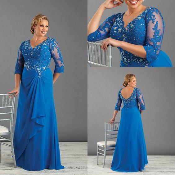 vestidos-de-fiesta-para-gorditas-otoño-invierno-2017-largo-azul