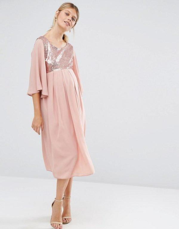 vestidos-de-fiesta-premama-otoño-invierno-2017-rosado
