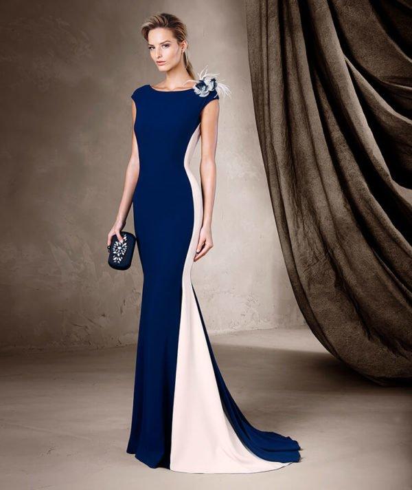 vestidos-de-fiesta-pronovias-bicolor-liso